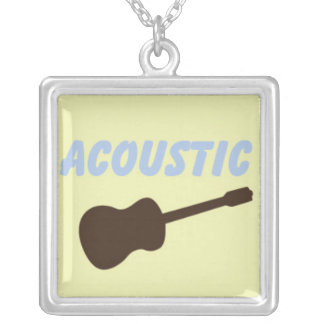 Brown and Yellow Acoustic Guitar With Blue Text Pendant
