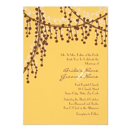Brown and Yellow Beaded Wedding Invitation