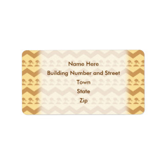 Brown and Yellow Chevrons and Birds Pattern Label