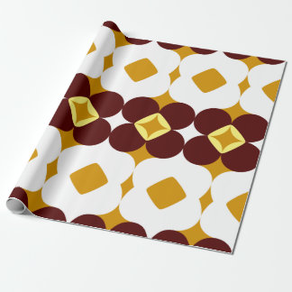 Brown and yellow flowers wrapping paper