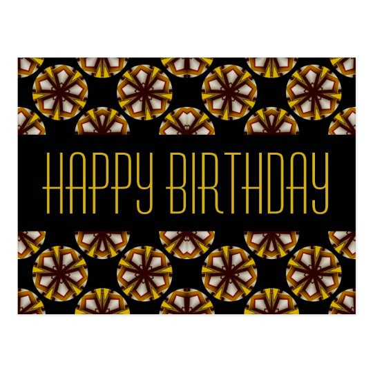 Brown and Yellow Happy Birthday Postcard