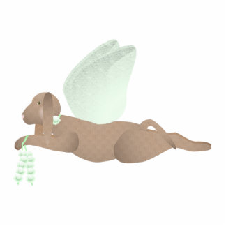 Brown Angel Dog With Green Wings Cut Outs