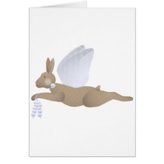 Brown Angel Rabbit With Blue Wings Greeting Cards