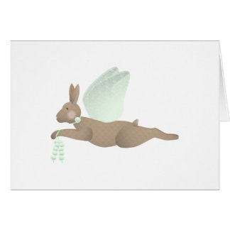 Brown Angel Rabbit With Green Wings Greeting Card