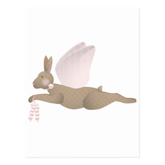 Brown Angel Rabbit With Pink Wings Post Card