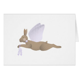 Brown Angel Rabbit With Purple Wings Greeting Card