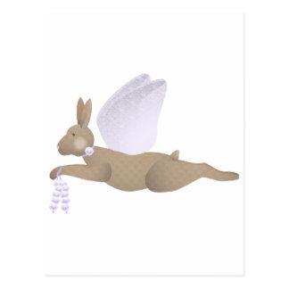 Brown Angel Rabbit With Purple Wings Post Card