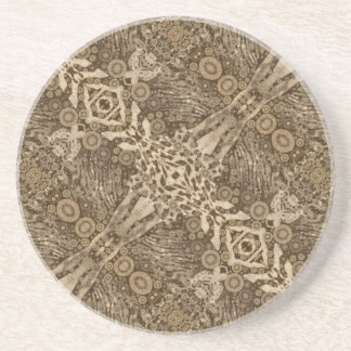 Brown Animal Print Abstract Coaster
