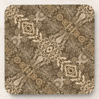 Brown Animal Print Abstract Coasters