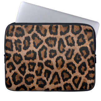 Brown animal print pattern laptop sleeve