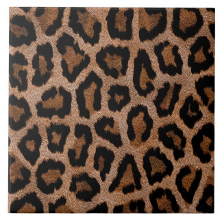 Brown animal print pattern large square tile