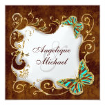 Brown aqua gold country wedding personalised invitation