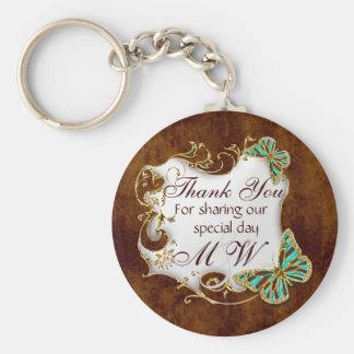 Brown aqua gold wedding favors key ring