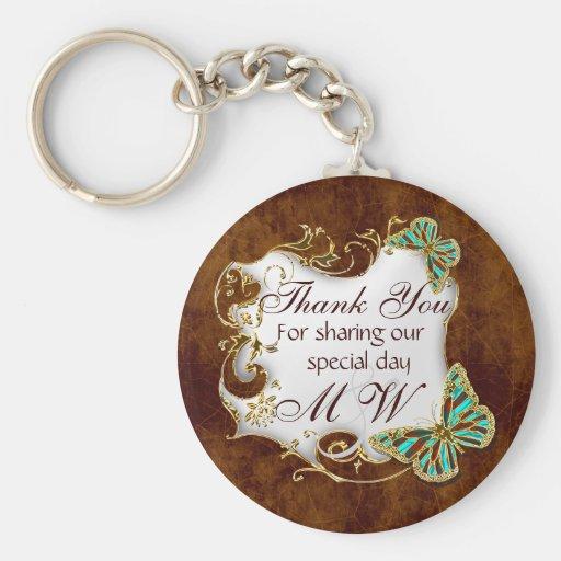 Brown aqua gold wedding favors key chain