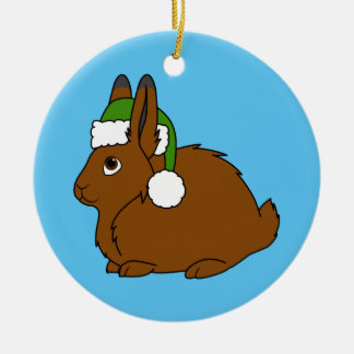 Brown Arctic Hare with Christmas Green Santa Hat Christmas Ornament
