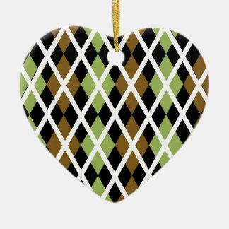 Brown Argyle Design Ceramic Heart Decoration