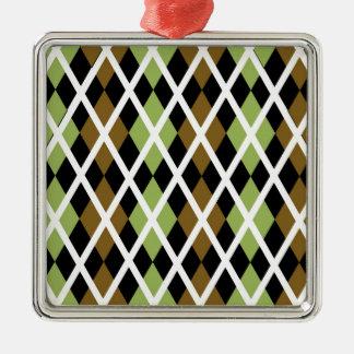 Brown Argyle Design Christmas Ornament