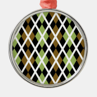 Brown Argyle Design Silver-Colored Round Decoration