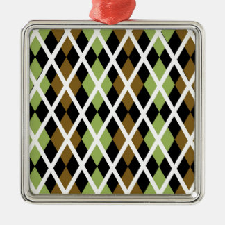 Brown Argyle Design Silver-Colored Square Decoration