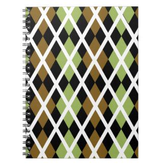 Brown Argyle Design Spiral Note Books