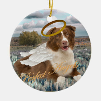 Brown Australian Shepherd Angel Christmas Ornament