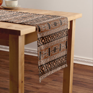Brown Aztec Pattern Southwest Design Short Table Runner