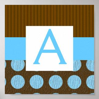 Brown/Baby Blue Stripe & Polka Dot Poster