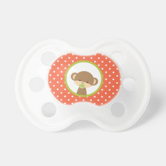 Brown Baby Monkey on Orange Polka Dots Baby Pacifiers