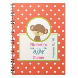 Brown Baby Monkey with Pacifier Baby Shower Notebooks