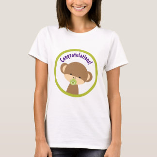 Brown Baby Monkey with Pacifier Congratulations T-Shirt