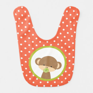 Brown Baby Monkey with Pacifier on Polka Dots Bib