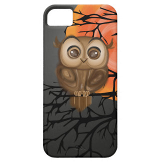 Brown baby owl on orange moon background case for the iPhone 5