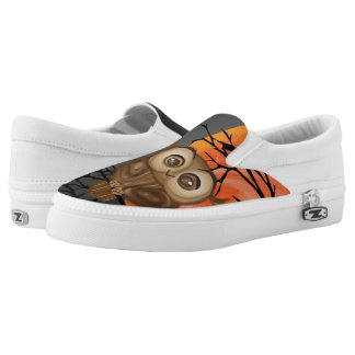 Brown baby owl on orange moon background slip on shoes