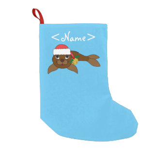 Brown Baby Seal with Santa Hat & Gold Bell Small Christmas Stocking