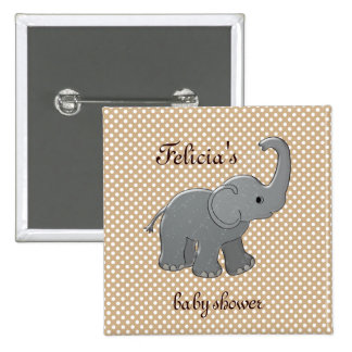 brown baby shower elephant 15 cm square badge