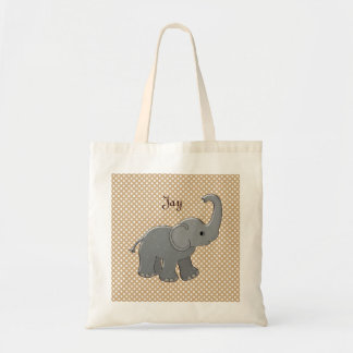 brown baby shower elephant budget tote bag