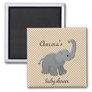 brown baby shower elephant square magnet