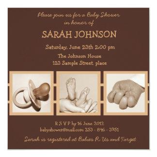 Brown Baby Shower Invitation