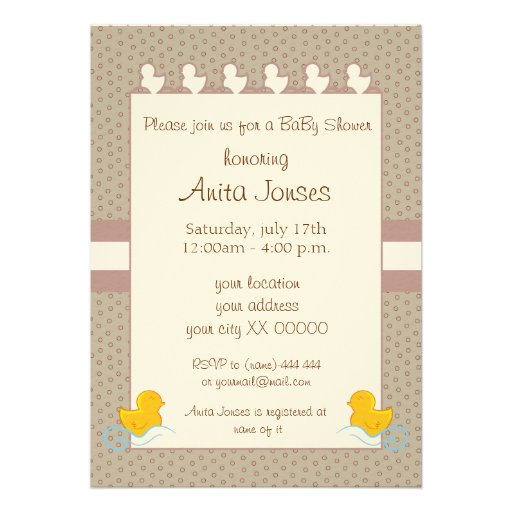 brown baby shower invitation with duckys