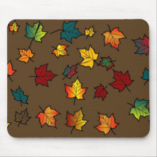 brown back autumn leaves design mouse pads