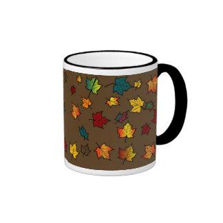 brown back autumn leaves design MUG