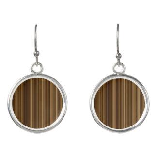 Brown Bamboo Circular Drop Earrings