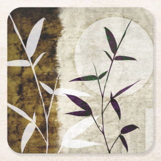 Brown Bamboo Moon Fall Leaves Square Paper Coaster
