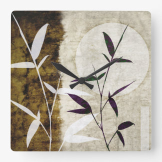Brown Bamboo Moon Fall Leaves Square Wall Clock