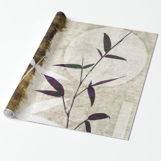 Brown Bamboo Moon Fall Leaves Wrapping Paper