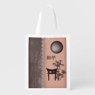 """Brown bamboo moon peach """"Peace"""" reusable bag"""