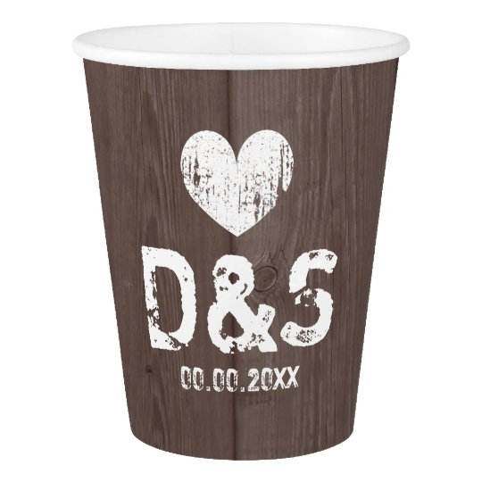Brown barn wood grain wedding party paper cups