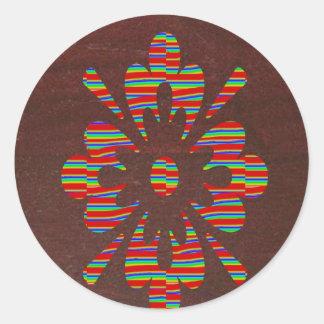 Brown base SYMBOLs Flowers Globe YinYang lowprices Round Sticker
