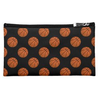 Brown Basketball Balls on Black Cosmetic Bag