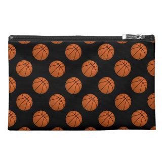 Brown Basketball Balls on Black Travel Accessory Bag